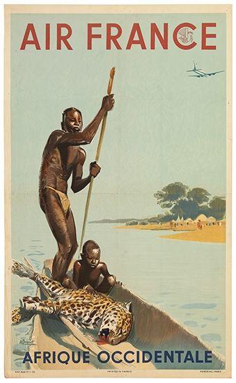 La Compañía Air France parece ofrecer un viaje a África de lo más salvaje.. Ilustración: Albert Brenet  años '30...