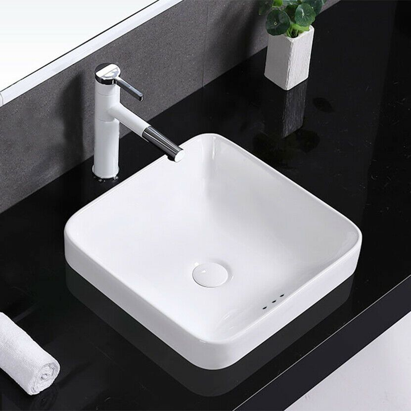 Square Drop In Vessel Sink With Dimension 16 5 X16 5 X6 75 In