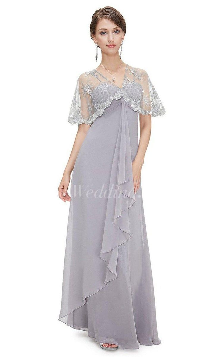 Flowing Chiffon Empire Long Mother of the Groom Dress With Lace Wrap, Perfect for Mother of Brides Dresses . #long #DorisWedding.com