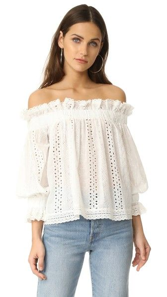 69ce61d2f3a2f endless rose Off Shoulder Top with Ruffle Cuffs