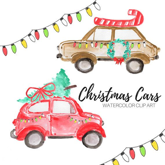 2020 Christmas Car Commercials Christmas clip art watercolor Christmas car holiday art | Etsy in