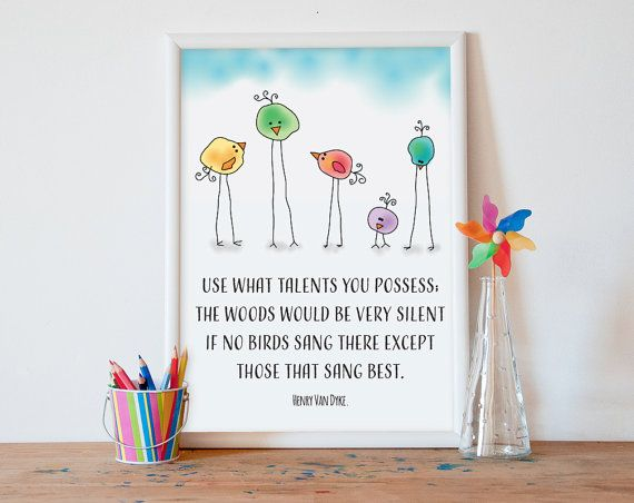 Classroom poster, classroom decor, kids wall art, classroom sign, use what talents you posses, gifts for teachers, playroom decor, kids art