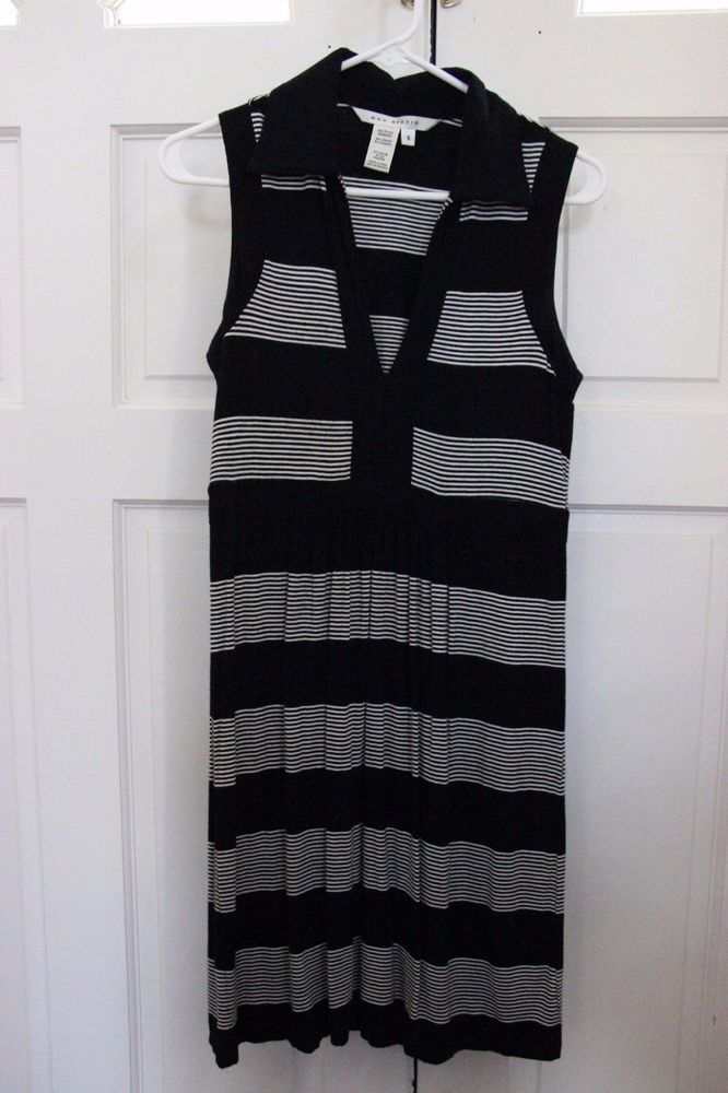 bd117e32085529 Max Studio Black  amp  Cream Striped Sleeveless Dress Size S.