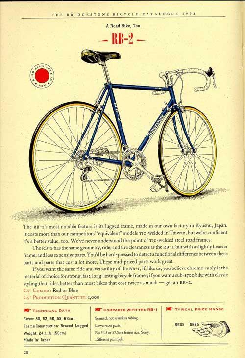 Bridgestone Bicycles 1993 Catalogue Page 28 Bicycle Bridgestone Classic Road Bike