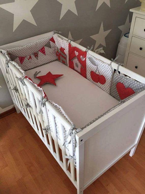 Crib Bedding   Baby Girl Bedding Crib Set   Red   Grey   Nursery Bedding    Gift For Baby   Modern Nursery Bedding   Personalizable Blanket