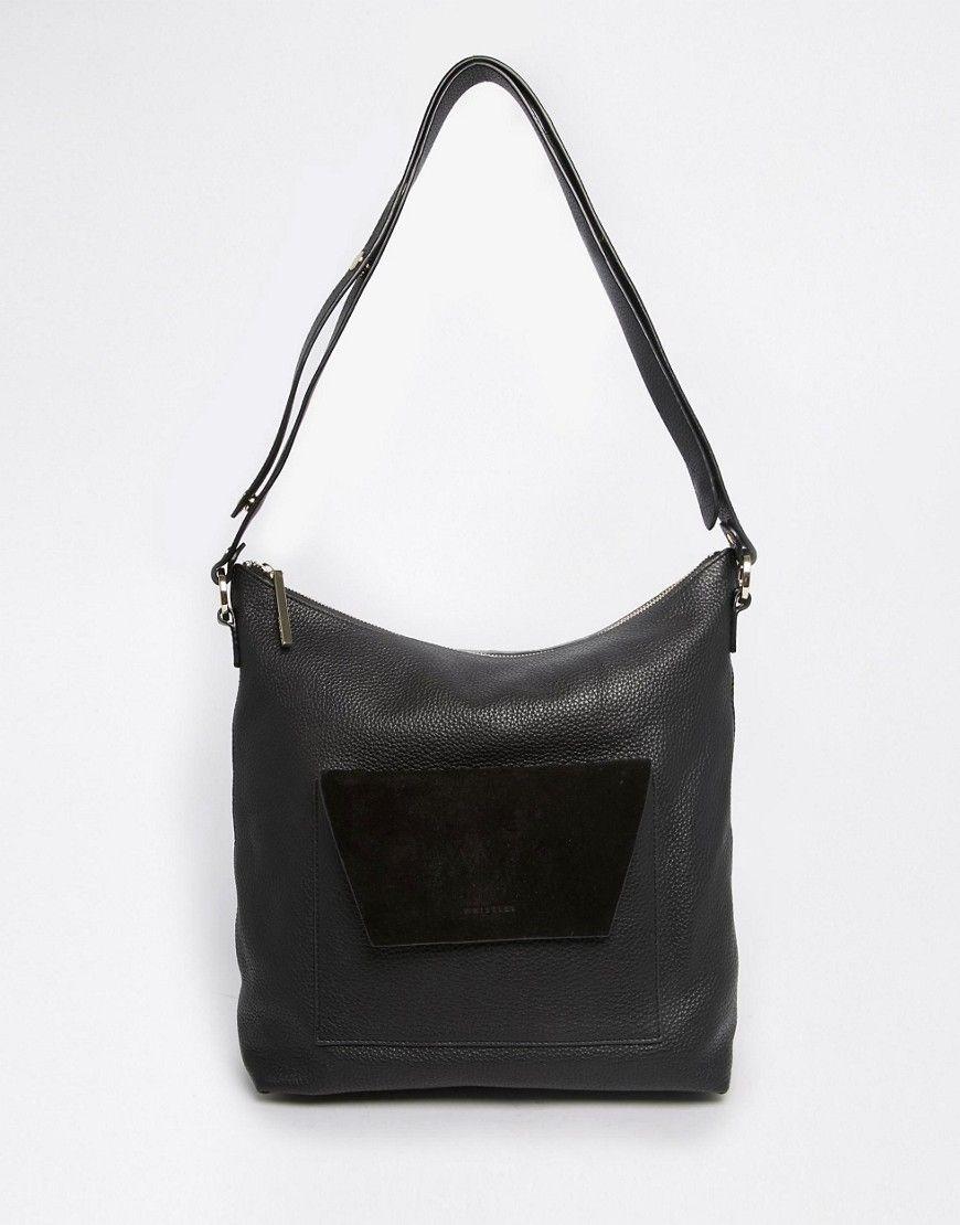 Whistles+Leather+Shoulder+Bag+with+Envelope+Pocket