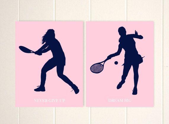 Girls sports art,girls art, tennis girl, dream big, never give up, girls room wall decor, custom girls gift, sports art, Set of 2 by PicabooArtStudio