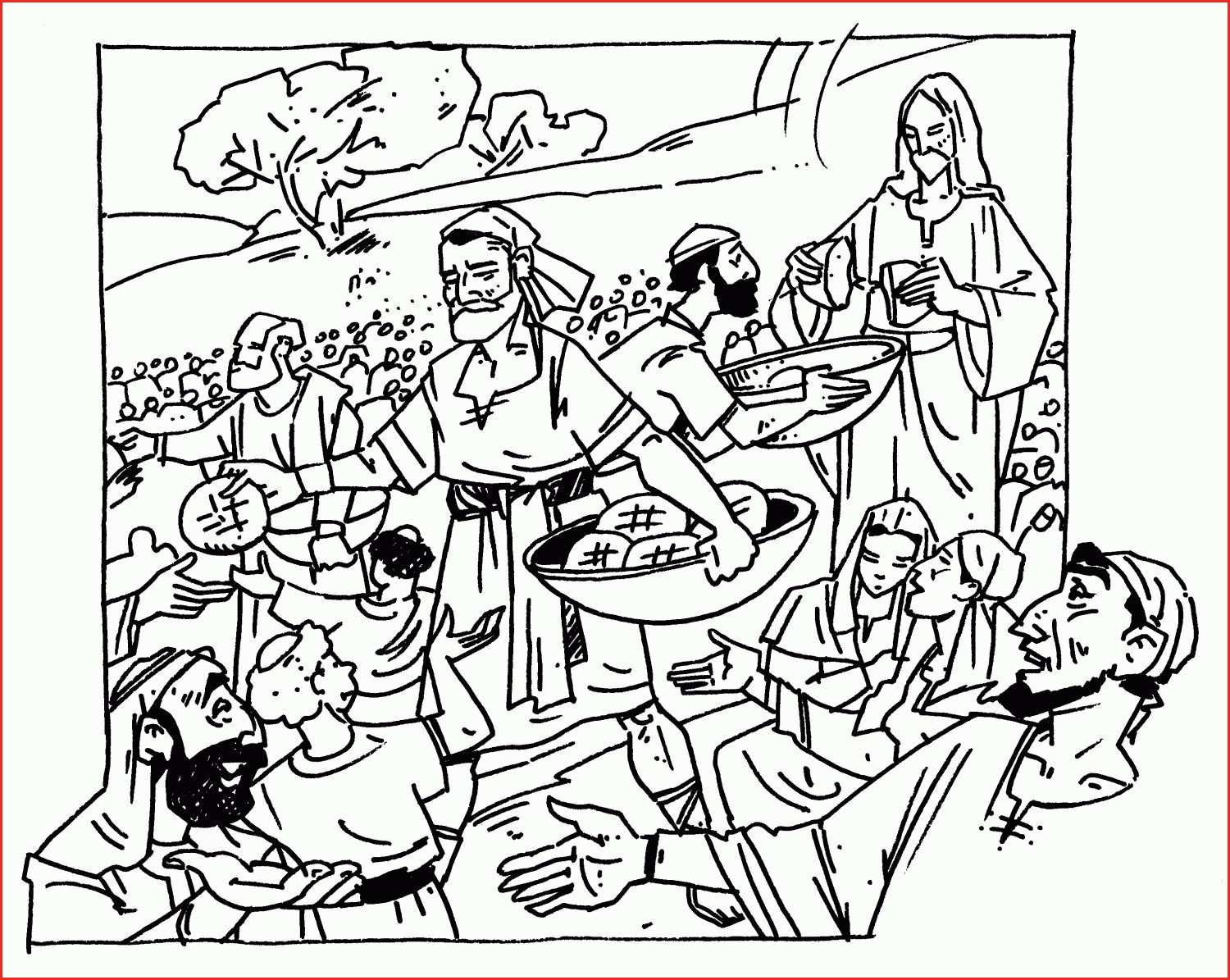 Jesus Feeds 5000 Coloring Page Coloring Pages Printable