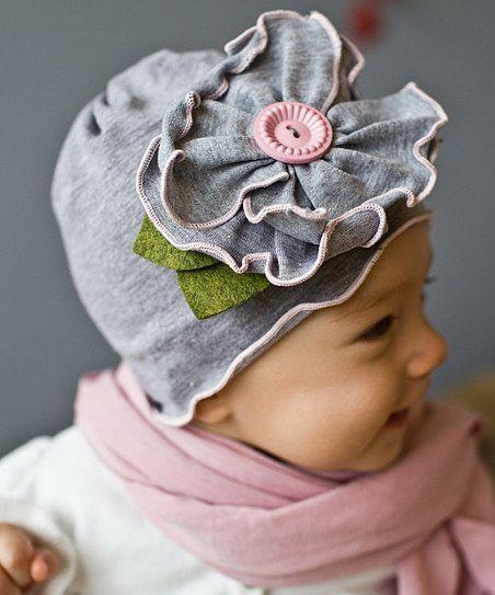 50458fead30 Pink   Gray Flower Hat ~ too cute!