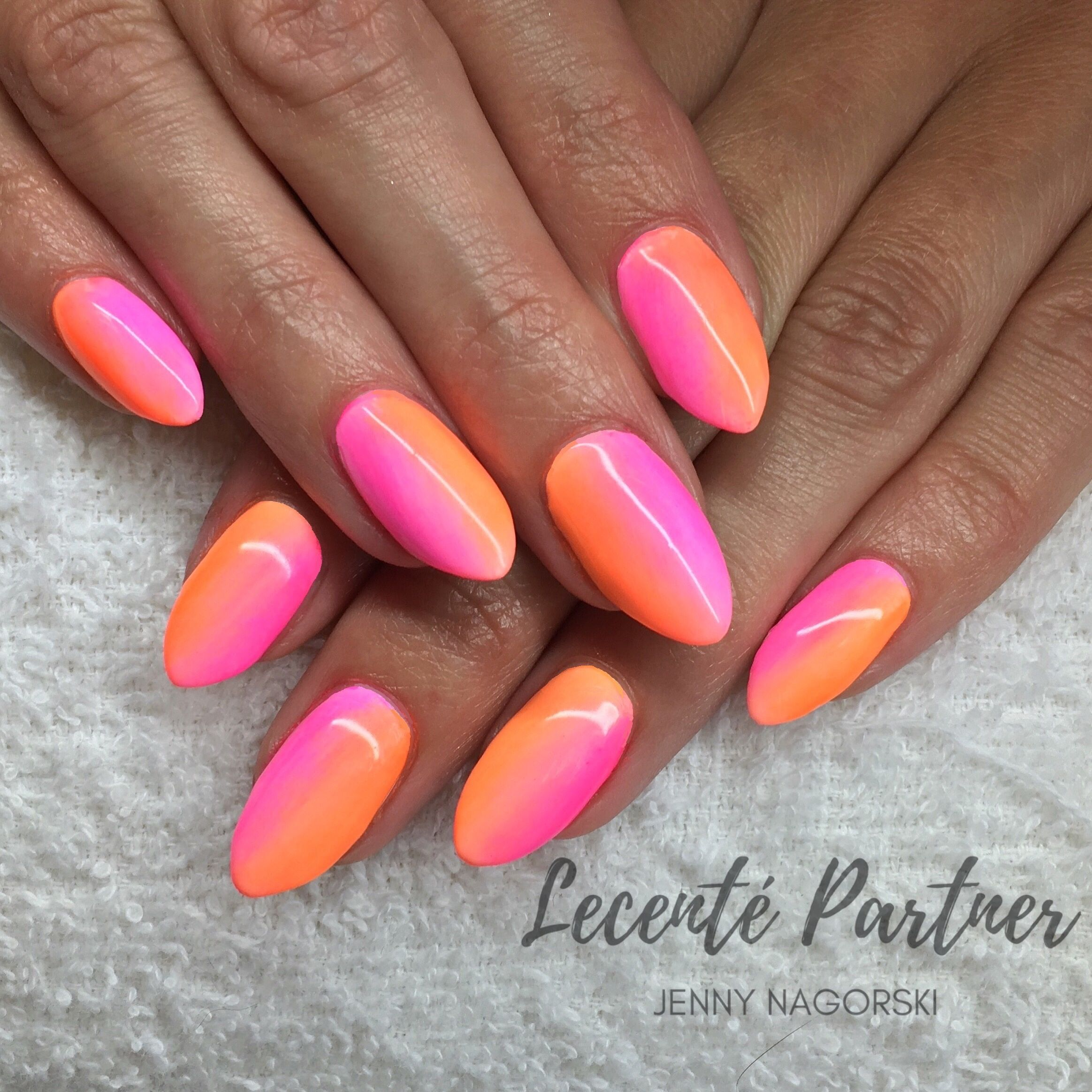 Neon Ombre Nails Using Lecente Neon Powders And Cnd Shellac With