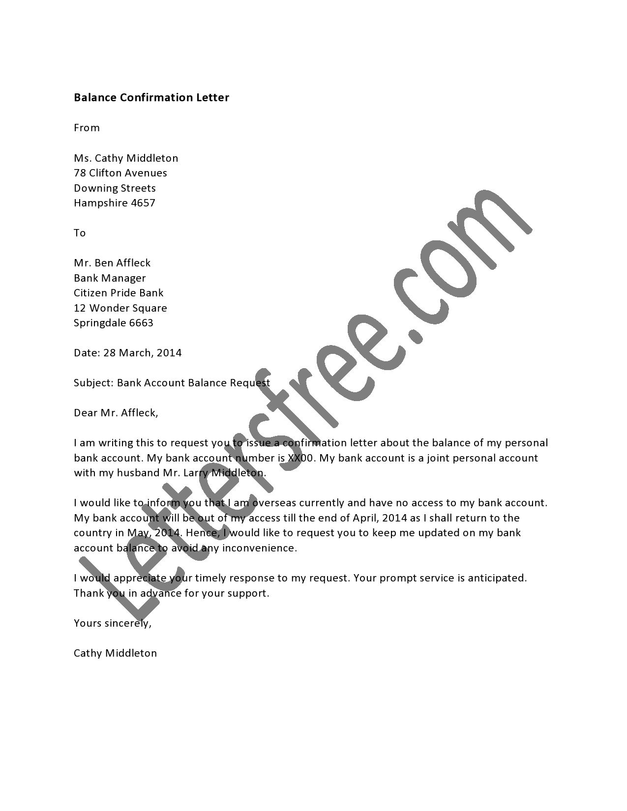 Balance confirmation letter format for the auditors and annual letter official auditors audits balance letters audit confirmation sample bank account verification certification hsbc for spiritdancerdesigns Gallery