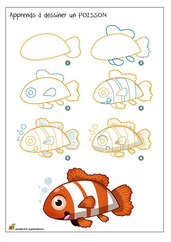 Apprends dessiner un poisson apprendre dessiner pinterest dessiner poissons et dessin - Dessiner un poisson facilement ...