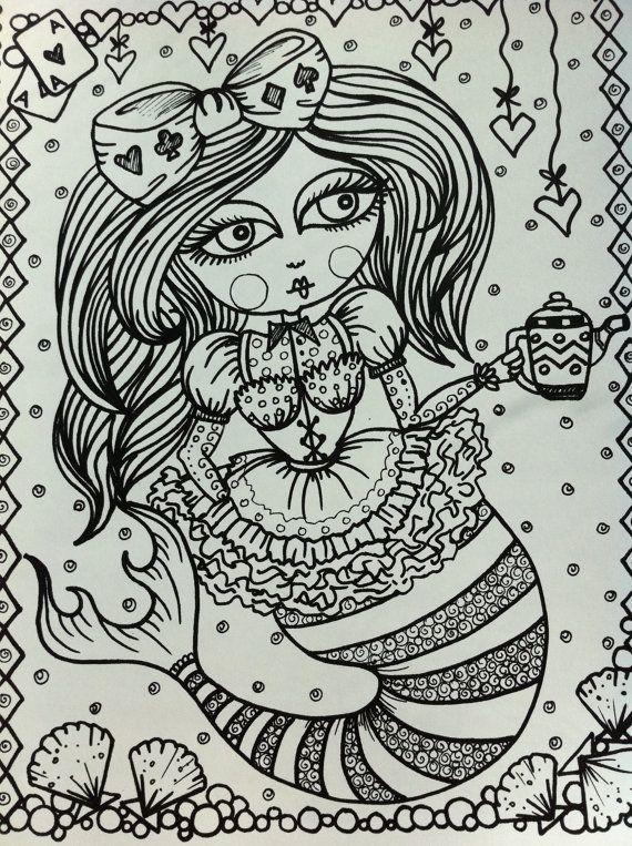 COLORING BOOK AliCe in Waterland Mermaid Color door ChubbyMermaid ...