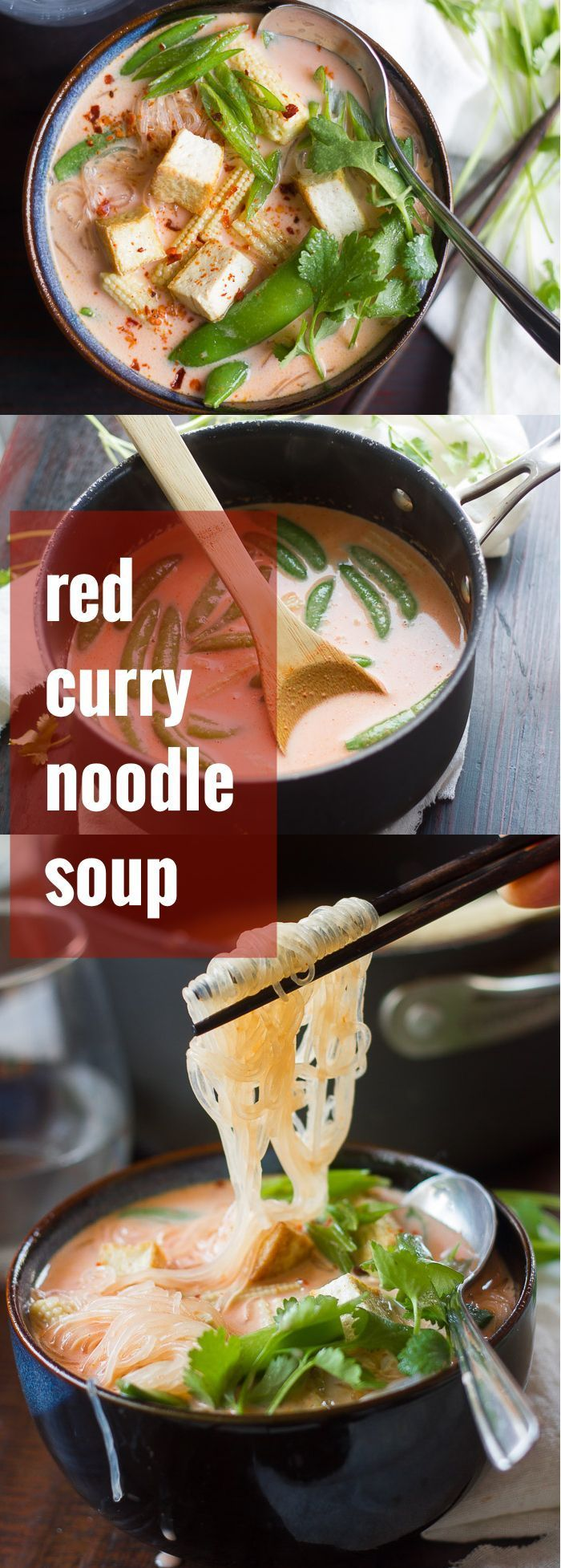 This cozy red curry noodle soup is made with tender noodles, veggies and tofu, swimming in a spicy Thai coconut milk broth.