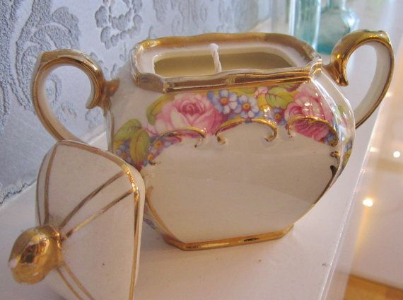 Vintage floral and gilded twin-handled sugar bowl, Sadler Pottery, handmade soy candle.