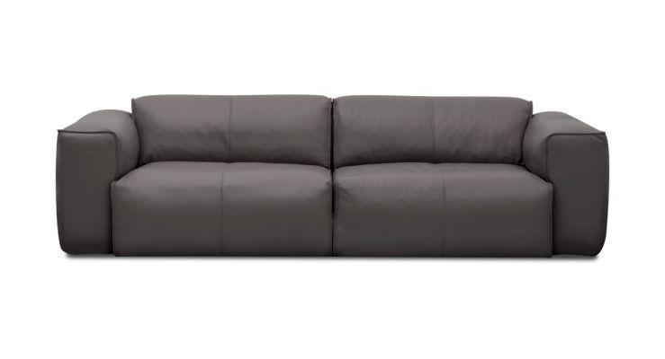 3 Sitzer Sofa Hudson II Semi Anilin Leder Grau