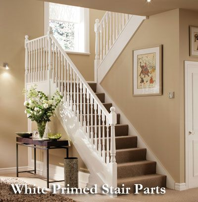 Best White Primed Stair Parts Banister With Images Stair 400 x 300