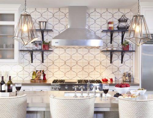 Custom Painted 12x12 Limestone Tile Kitchen Backsplash