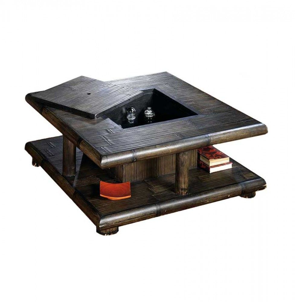 Table Basse Bambou Wenge Avec Coffre Bar Tao Table Basse Coffre