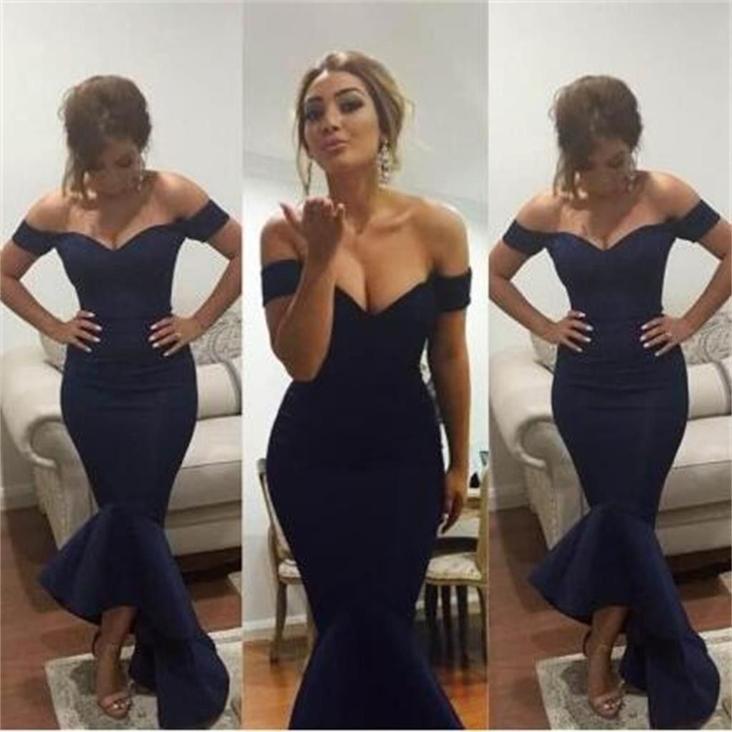 Long navy blue mermaid off shoulder formal evening party formal prom