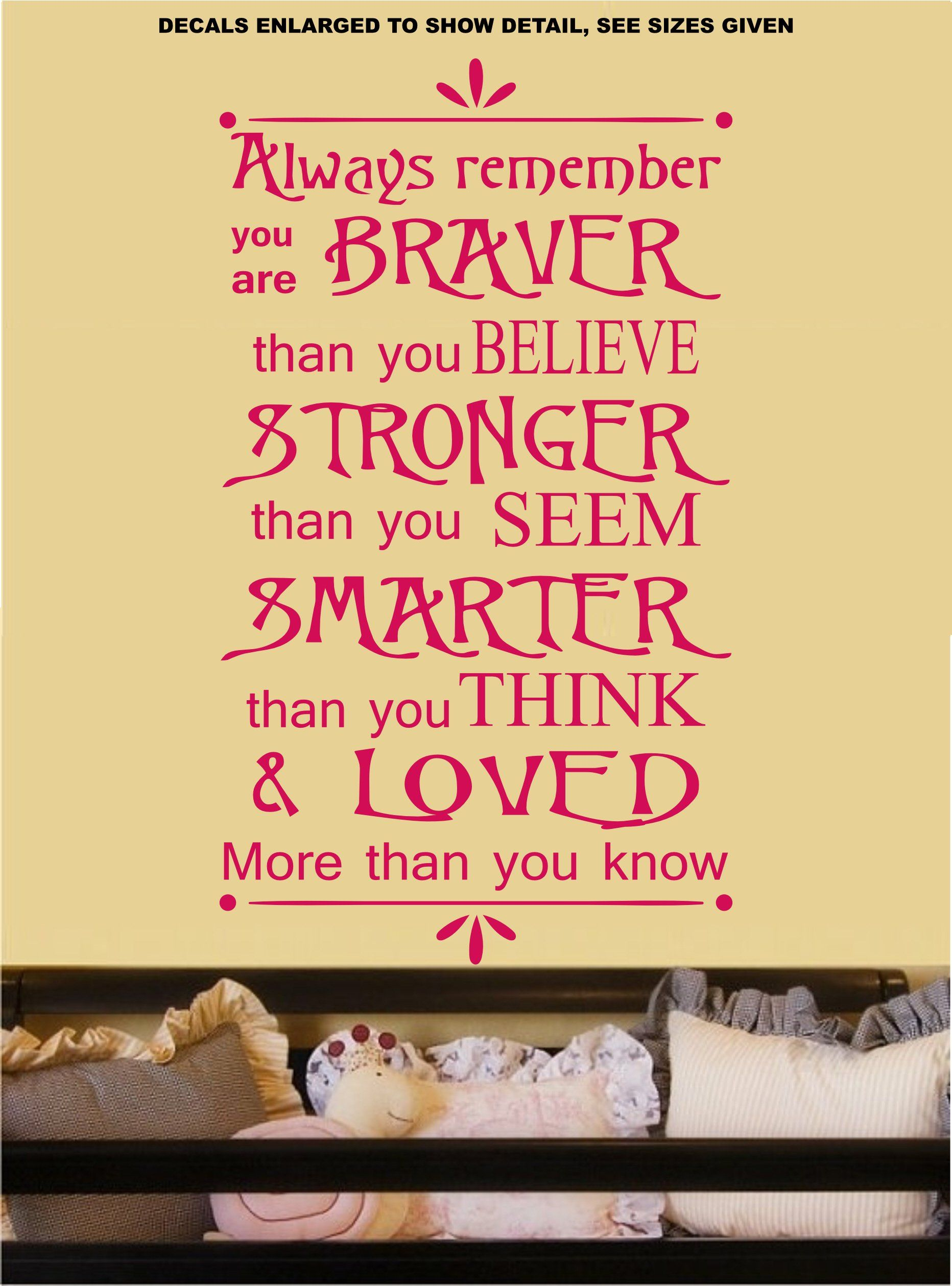 Always Remember You Are Braver Quotation Wall Art Sticker Vinyl ...