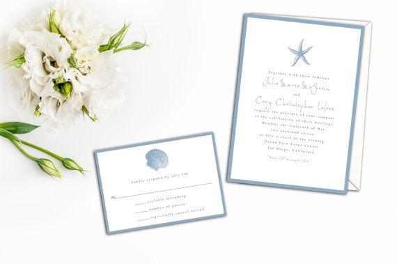 Starfish Wedding Invitation Beach Wedding by pinklilypress on Etsy
