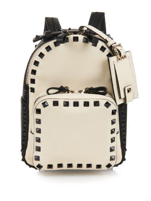 a5bdbf1f2d Valentino Rockstud leather mini backpack   Handbags   White leather ...