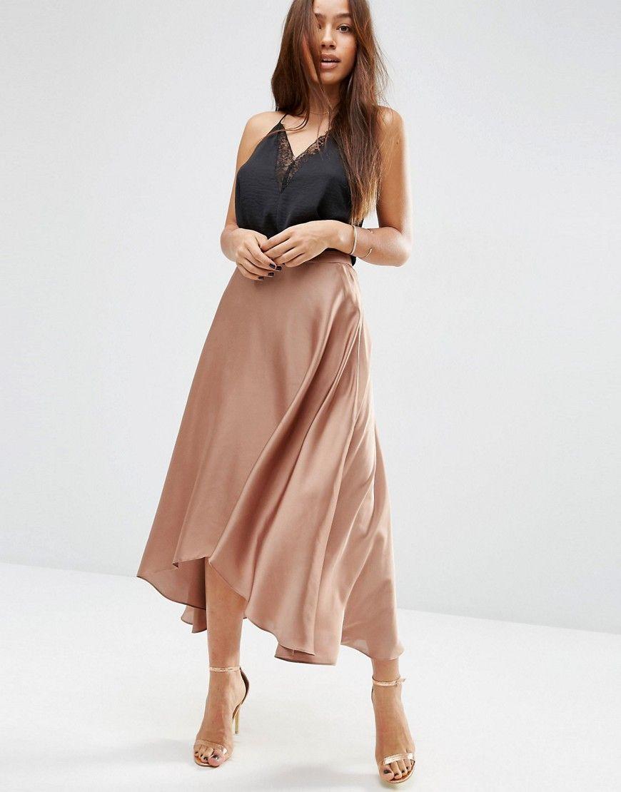 971fd28bc ASOS Midi Skirt in Satin with Splices - Copper | Fashion | Satin ...