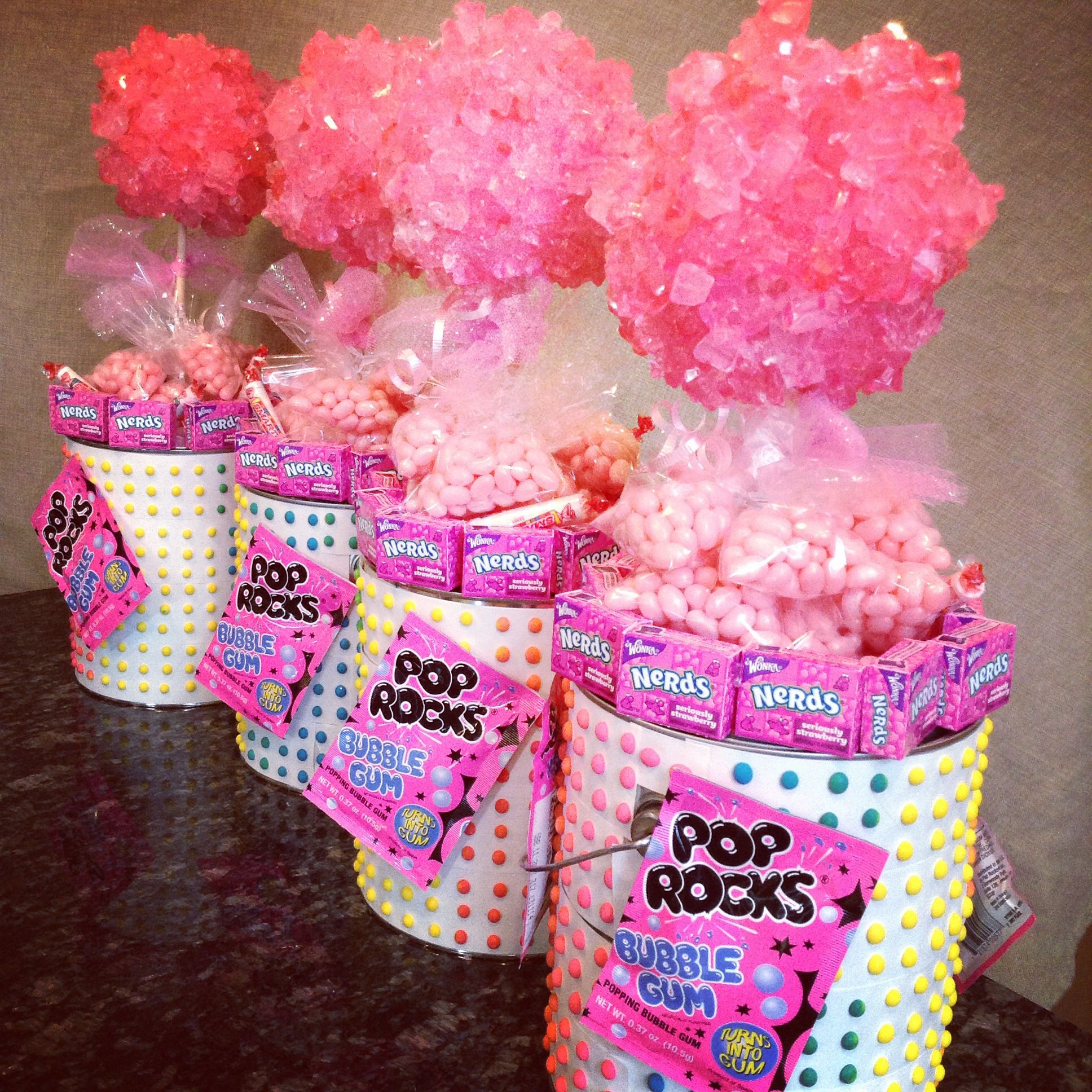 we made these rock candy topiary centerpieces filled with more candy rh pinterest com