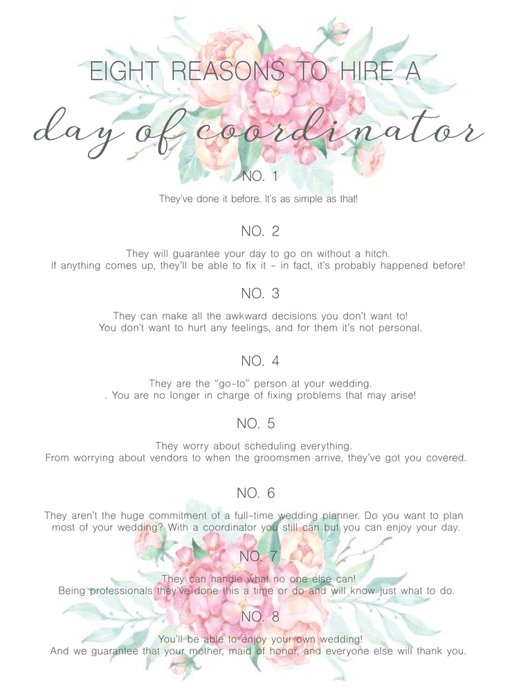 Eight Reasons To Hire A Day Of Coordinator Wedding Coordinator Checklist Wedding Event Planning Wedding Planning