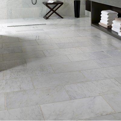 Msi Carrara 12 X 24 Beveled Natural Stone Marble Look Wall Floor Tile In 2020 Flooring Tile Floor Marble Tile Floor