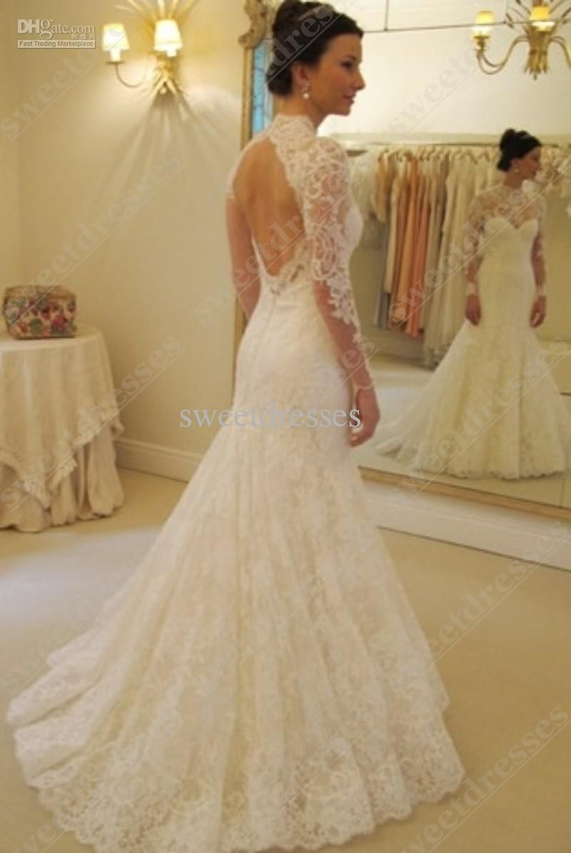 2016 cheap backless mermaid wedding dresses high neck long for Lace sleeve backless wedding dress