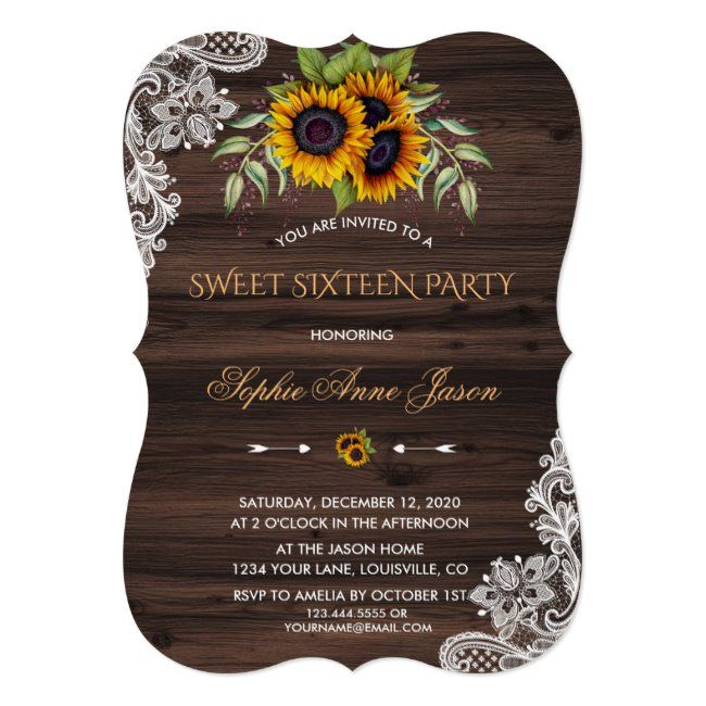 Rustic Sunflowers Wood Sweet Sixteen Party Invitation ...