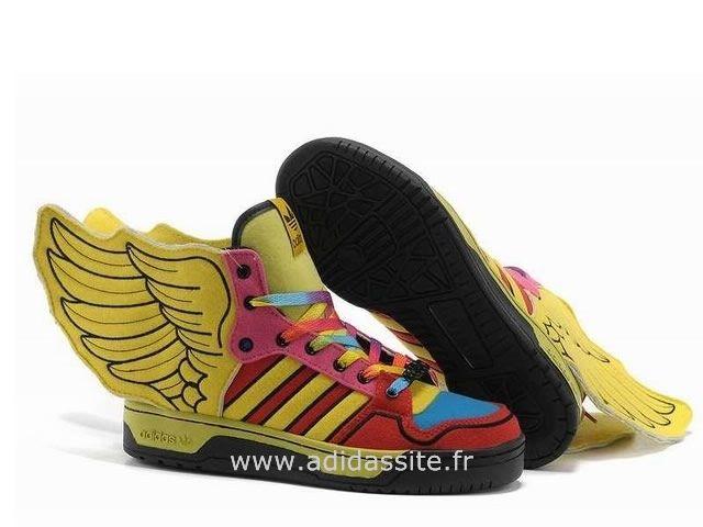 fd8e477185d1cc Adidas JS Wings unisexes colorées Bleu Rouge Basket Adidas Femme ...