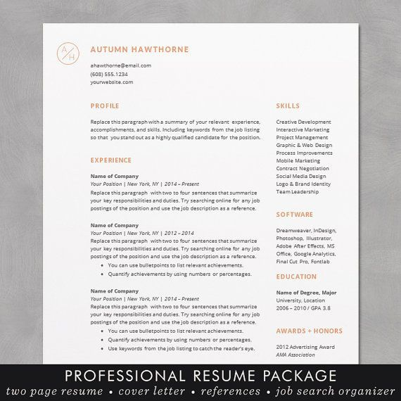 minimal modern resume cv template word mac or pc professional