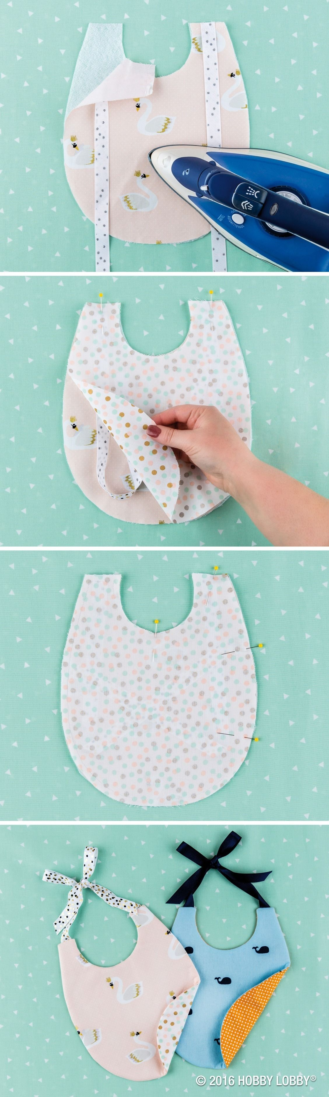 """Keep your little one in style with DIY bibs! 1) Cut 2 pieces of coordinating fabric & 1 piece of fusible fleece. 2) Sew 15"""" of ribbon on each shoulder, & iron on fusible fleece to main fabric's wrong side, & align the main & second fabrics' right sides. 4) Sew 1/4"""" from edge all the way around bib, leaving a 1 1/2"""" opening. 4) Trim corners & make small cuts around bib. Do not clip the sew line. 5) Turn bib inside out, press & hand sew the open space to finish. Refer to Simplicity pattern…"""