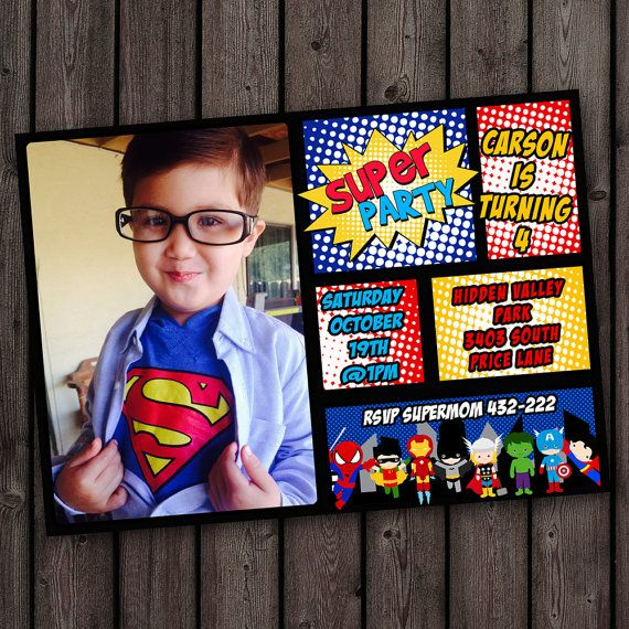 Superhero Invitations Customized Invitation Comic Digital Or Printed With