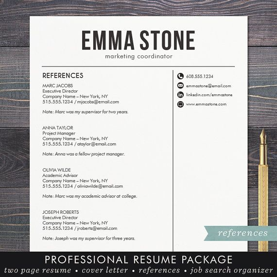 Resume Template - CV Template for Word, Mac Pages, Professional