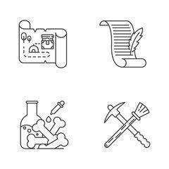 Archaeology Archeology linear icons set. Treasure map. Ancient manuscript. Laboratory resear...  #ancient #archaeology #Archaeologysymbols #Archeology #icons #Laboratory #linear #manuscript #map #resear #Set #treasure