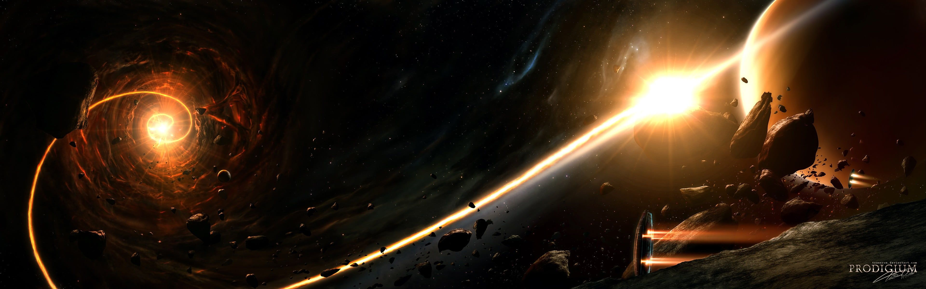 Black And Yellow Cosmic Wallpaper Space Planet Asteroid Spaceship Stars Nebula Universe Space Art Digital Art Scienc Space Art Wallpaper Space Wallpaper