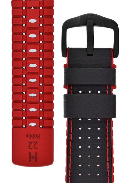 Hirsch ROBBY Sailcloth Effect Performance Watch Strap in BLACK / RED  $116.00  Function and design in perfect harmony in even the most demanding situations. Moisture is quickly wicked away by the caoutchouc core's special structure and the finely perforated, sailcloth-effect upper fabric surface, ensuring constant optimum wearing comfort.