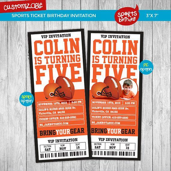Printable football birthday ticket invitation printable Birthday - ticket invitation template