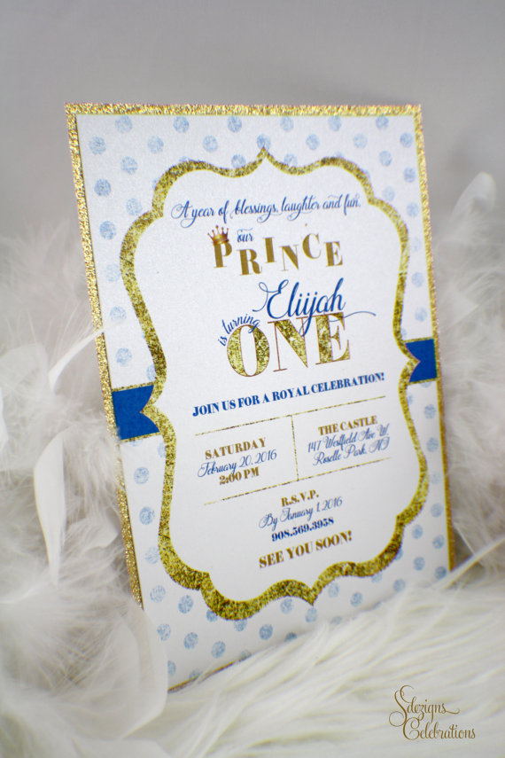 Prince First Birthday Invitation | One | Baby | Royal | Crown | Gold ...