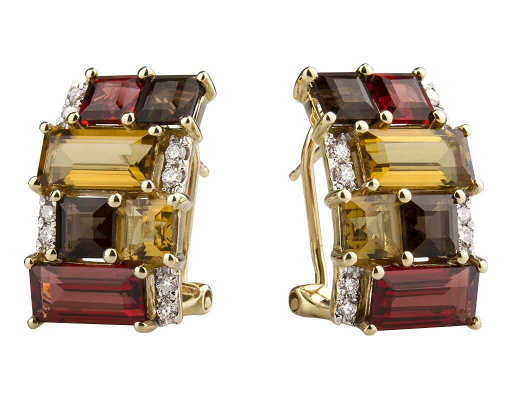 Aretes en oro amarillo de 14 kilates con diamantes y piedras semipreciosas. // 14K yellow gold earrings with semiprecious stones and diamonds