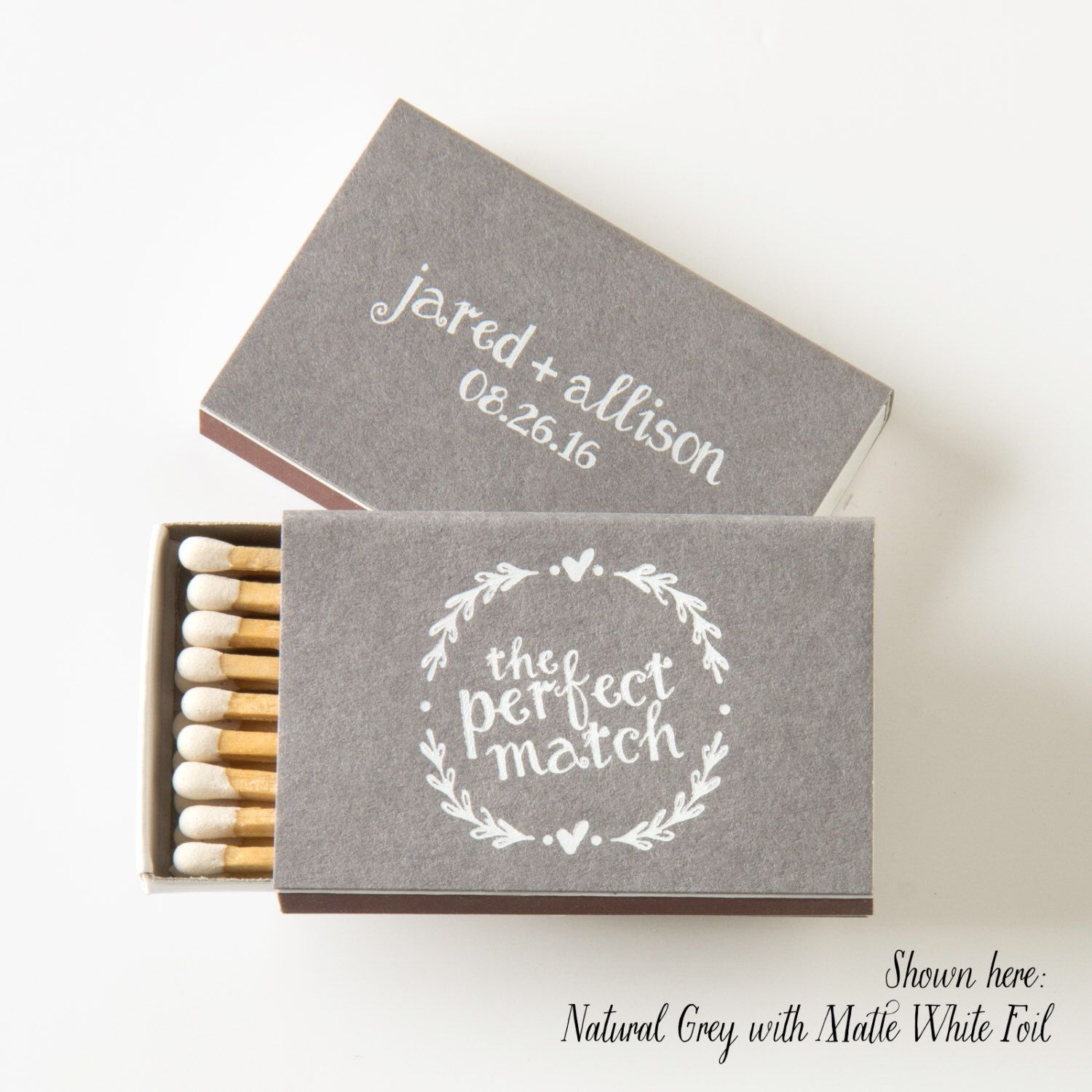Heart Wreath Matchbo Wedding Favors Matches Decor Personalized Custom Rustic Match Box