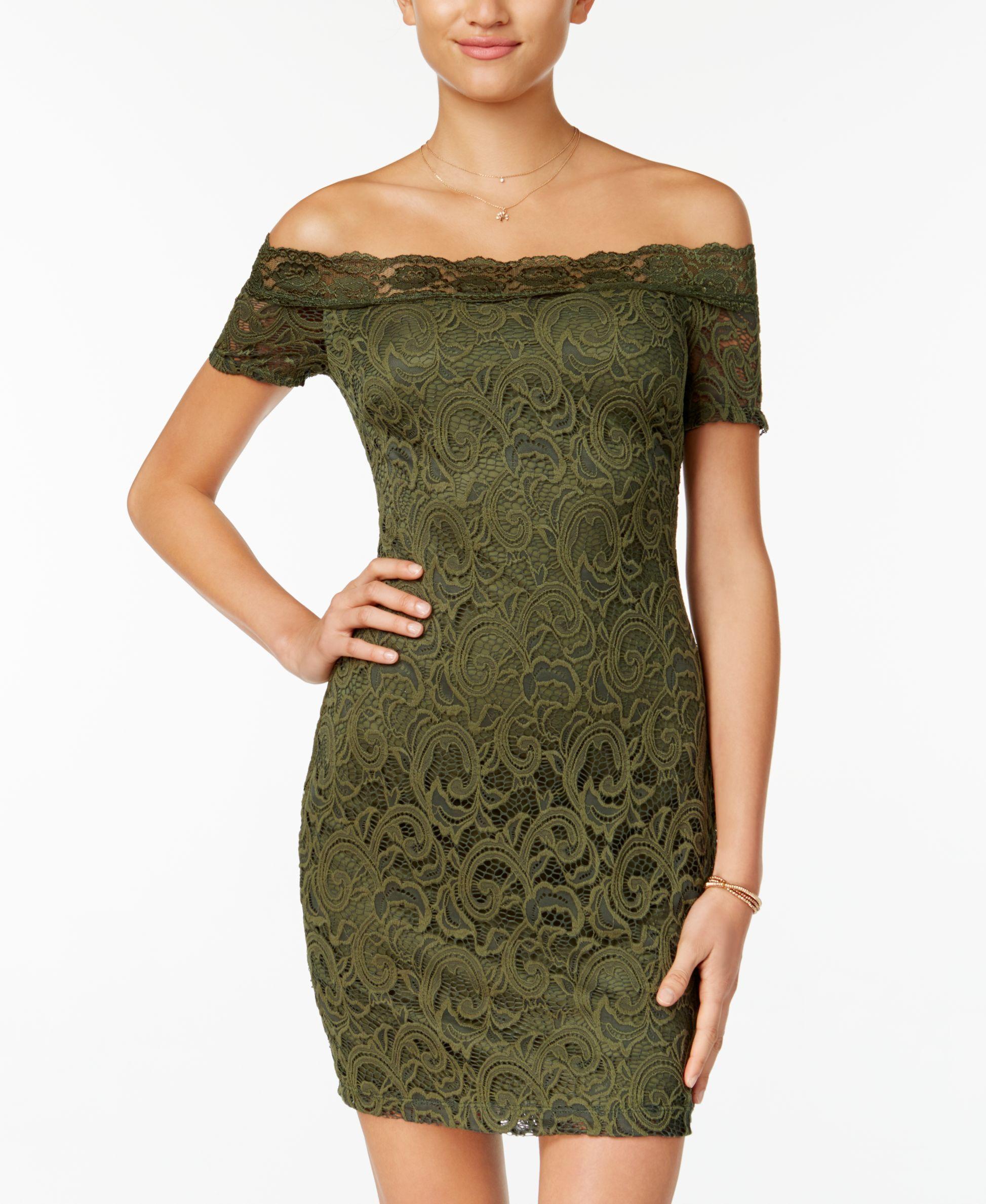 a5e79a3872c B Darlin Juniors  Off-The-Shoulder Lace Dress