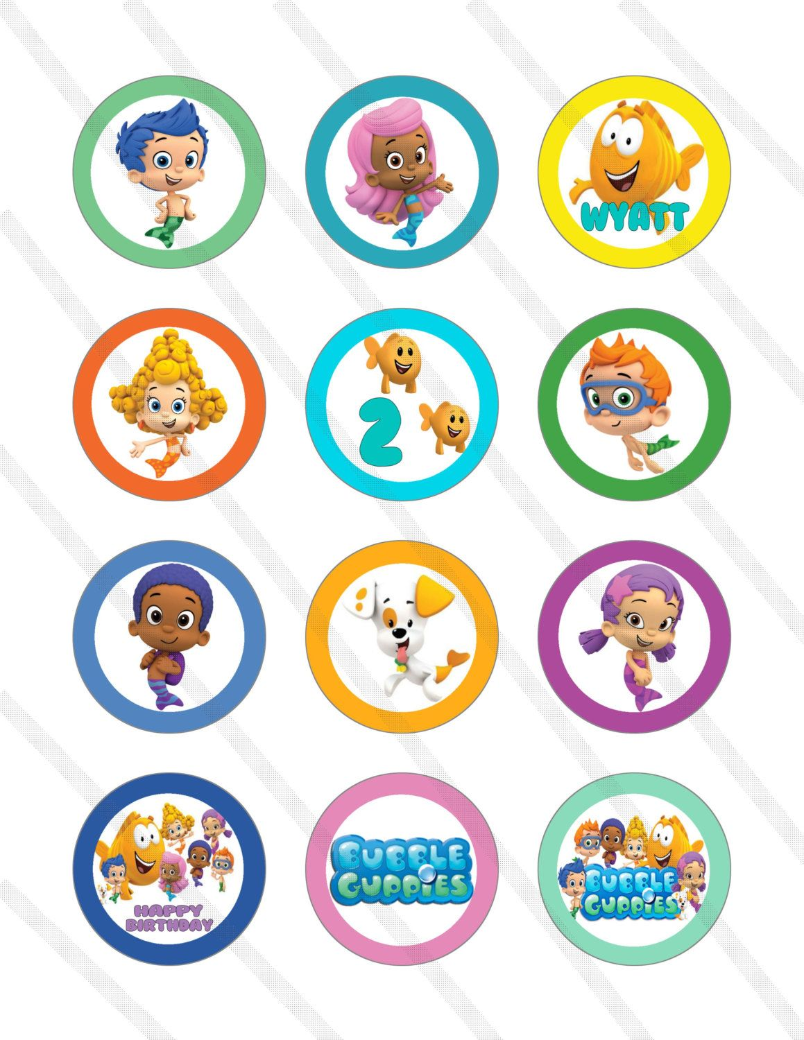 Bubble Guppies Birthday Party 2 inch Cupcake by KrittsKreations ...