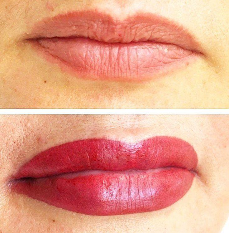 Супермодный перманентный макияж губ — Фото до и после ...