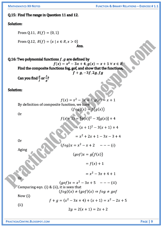 Exercise 1 1 Solved Questions Answers Function And Binary Relations Mathematics Xii Binary Relation This Or That Questions Mathematics