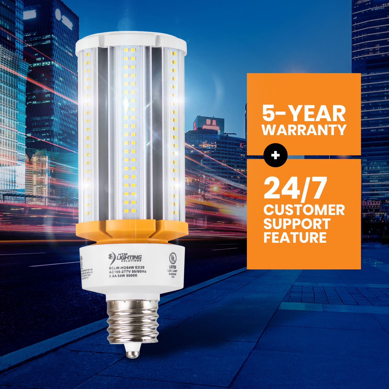 54w Led Corn Light Bulb 250w 300w Metal Halide Equal 8 100 Lumen 150lm W Ex39 Mogul Base Bulb Security Lights Light Architecture